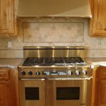 beige tile backsplash