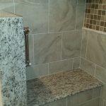 brown speckled granite shower