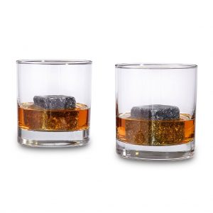 Whiskey Stones in glass tumblers