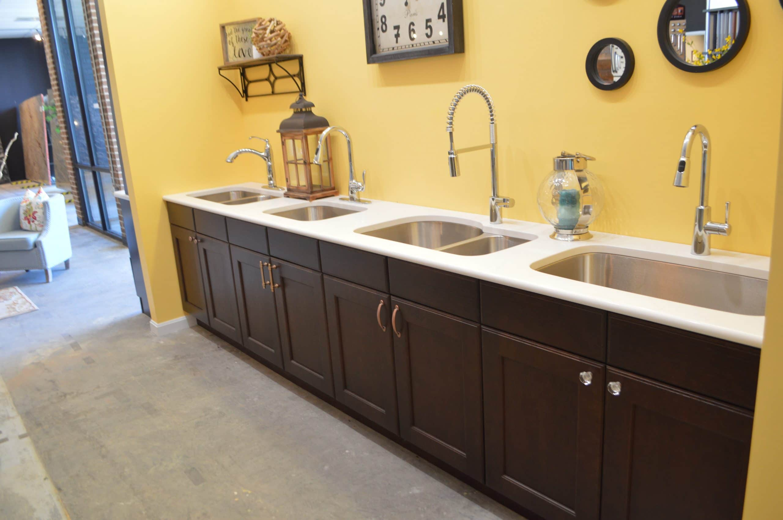 white counter and brown cabinets