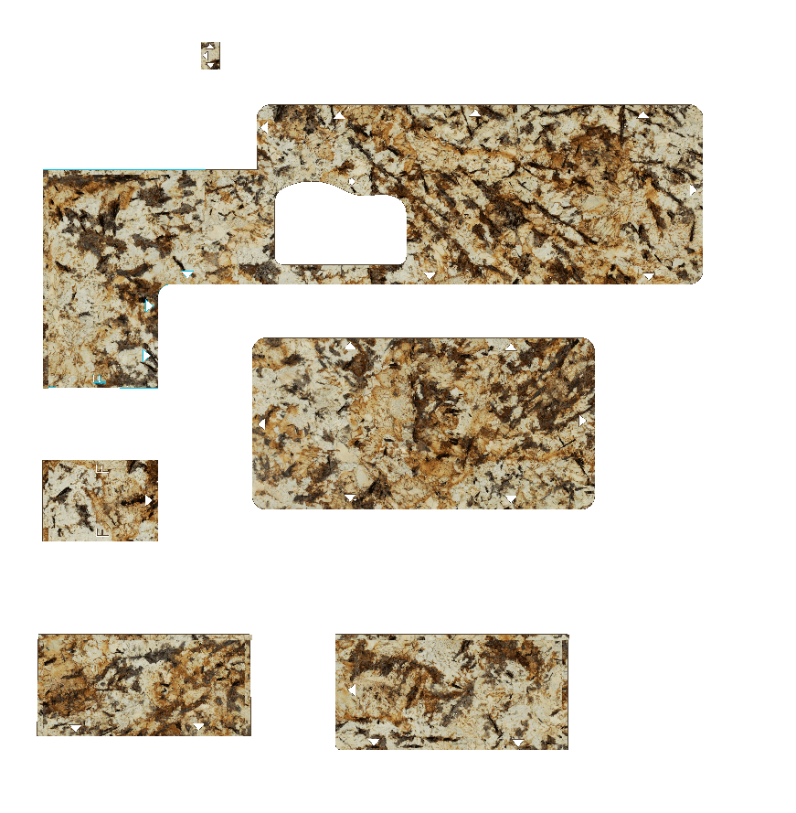 CAD drawing of counters in brown speckled granite