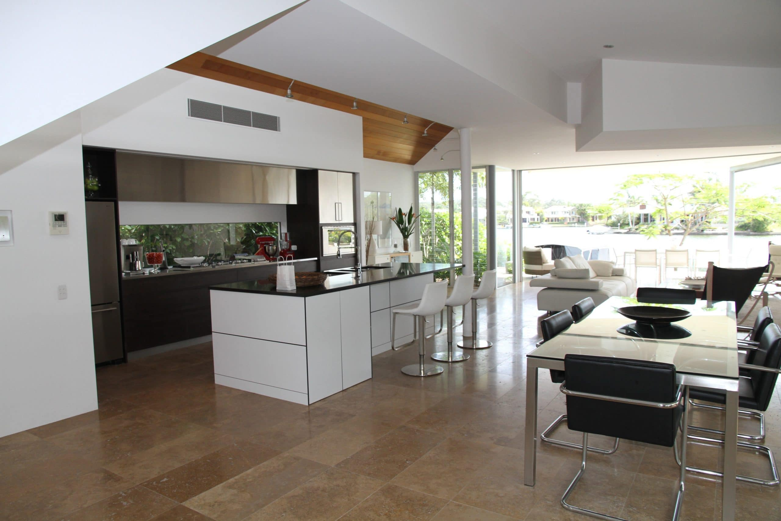 white counters on brown flooring