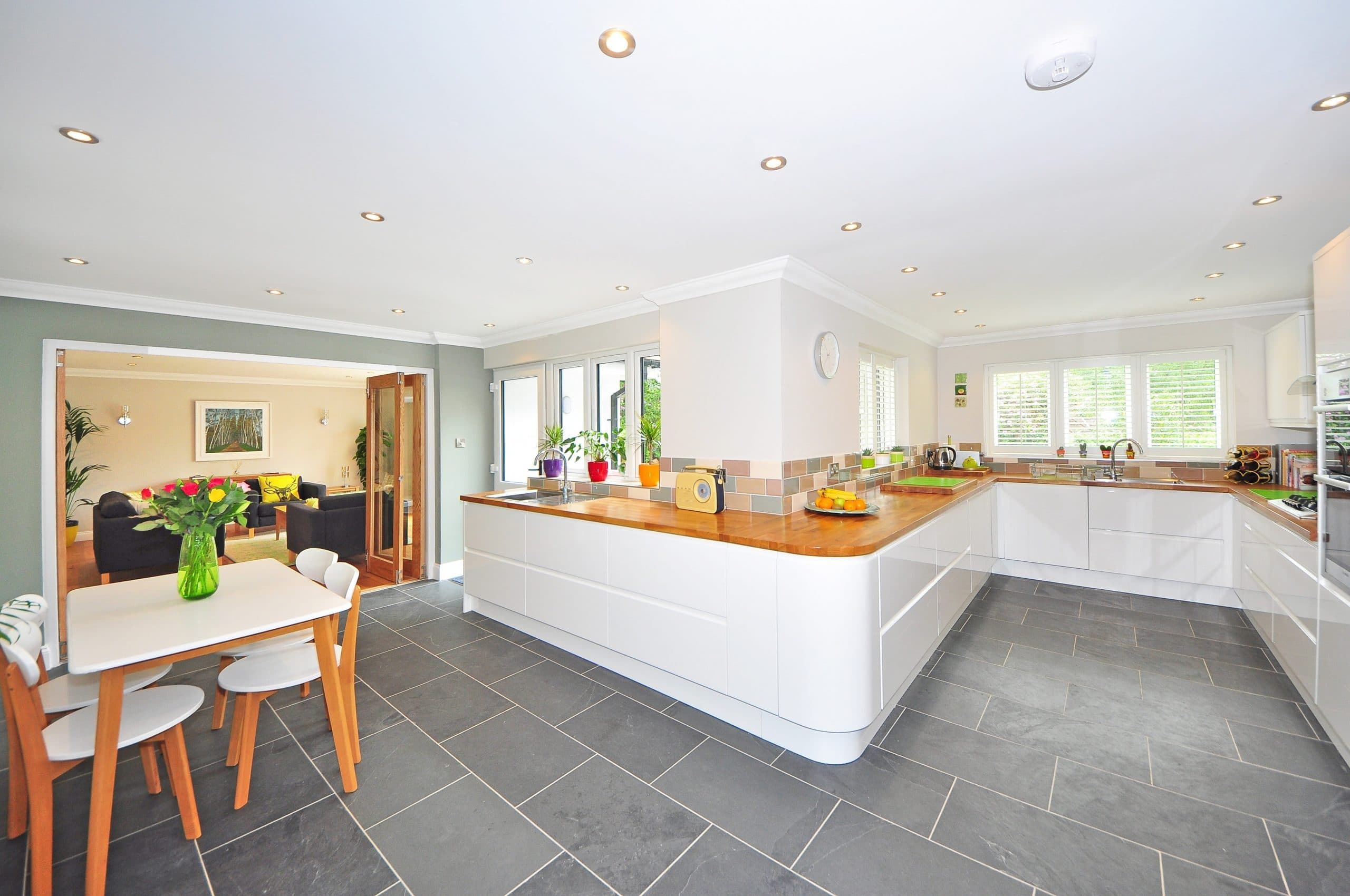 white and brown tables and counters on gray flooring