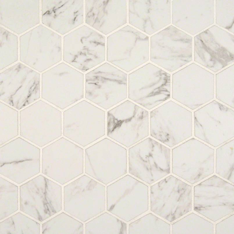 carrara 2 inch hexagon matte flooring