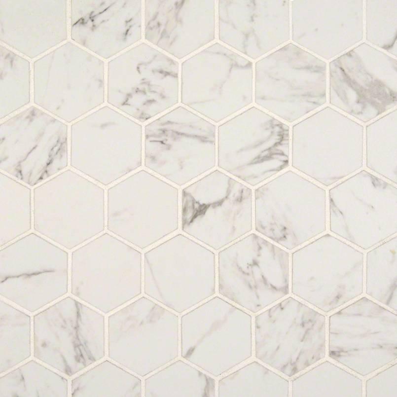 carrara 2 inch hexagon matte flooring
